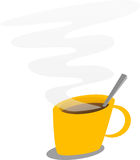Cup of coffee. Illustration of a steaming mug of coffee Stock Images
