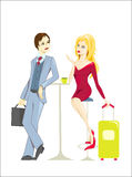 Cup of coffee. Small talk at the airport vector illustration