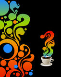 Cup of coffee. Cup of coffee on grange floral background Royalty Free Stock Photos