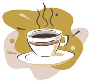 Cup of coffee. A cup of black coffee. Vector illustration Stock Image