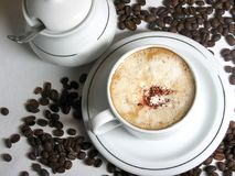 Cup of coffee. Cup of hot coffee with sugar and whipped cream Royalty Free Stock Photos