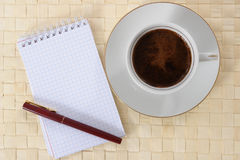 Cup of coffee. Inscenization about  break for coffee drink Royalty Free Stock Images