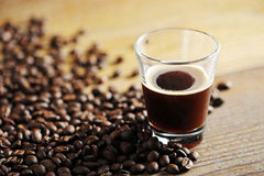 Cup of coffee. On the wooden table royalty free stock image