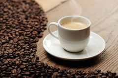 Cup of coffee. And beans stock photo