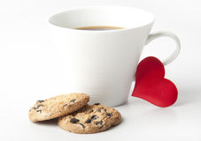Cup of coffee. And heart Royalty Free Stock Images