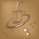A cup of coffee. On brown background Royalty Free Stock Photo