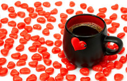 Cup of coffee. And hearts Stock Photo