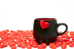 Cup of coffee. And hearts Royalty Free Stock Images