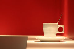 Cup of coffee. In small cafe Stock Photography