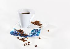 Cup of coffee. On white background Royalty Free Stock Photo