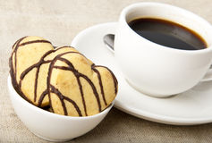 Cup of coffee. And cookies with chocolate Royalty Free Stock Image