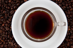 A cup of coffee. A cup of coffee on the background of coffee beans Stock Photos