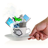 Cup of coffee. Hand holds a cup of coffee with hand cursor sign and business objects Stock Image