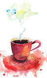 A cup of coffee. Watercolor illustration Stock Photos