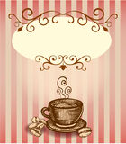 Cup of coffee. Background with cup of coffee in English style Stock Images