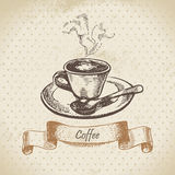 Cup of coffee. Hand drawn illustration Royalty Free Stock Images