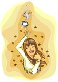 A cup of coffee. She has a cup of coffee Stock Illustration