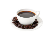 Cup of coffee. With coffee beans royalty free stock image