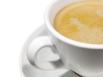 Cup of Coffee. A cup of coffee with foam on a white background stock photos