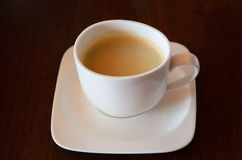 Cup of coffee. Esspresso white cup royalty free stock photo