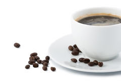 Cup of coffee. With beans isolated Stock Image