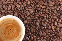 Cup of coffee. And coffee-beans Royalty Free Stock Images