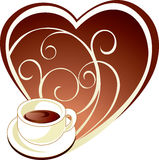 Cup of coffee. Cup of aromatic coffee with heart Royalty Free Stock Image