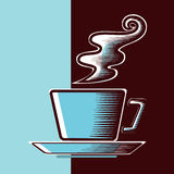 Cup of coffee. A cup of steaming coffee Royalty Free Stock Photography