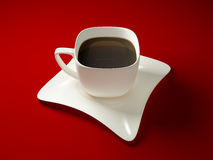 Cup of coffee. White square cup of coffe on white square plate Stock Photo