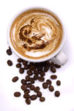 Cup of coffee. Cup of creamy espresso coffee isolated on white background Stock Image