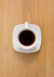Cup of coffee. On wooden table stock photography