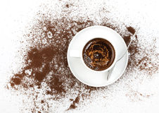 A cup of coffee. And coffee sprinkle Stock Photography
