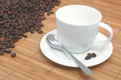 Cup of coffee. On a wood background Royalty Free Stock Photography