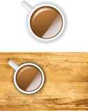 Cup of coffee from above isolated and on a table Royalty Free Stock Image