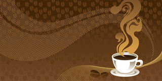 Cup of coffee with abstract background. Horizontal banner Stock Images