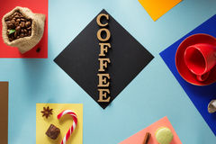 Cup of coffee  at abstract colorful Stock Image