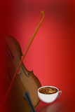 Cup of coffee against violin Royalty Free Stock Images