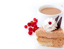 Cup of coffee and air cake Stock Photos