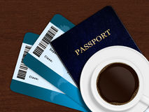 Cup of coffee with airplane tickets and passport Royalty Free Stock Photography