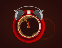 Cup of coffee with alarm clock. Wake up! Time for coffee. Royalty Free Stock Photos