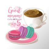 Cup of coffee andmacaroons vector illustration Stock Photo