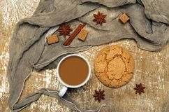 Cup of coffee, anisetree seeds. And cinnamon Stock Photography