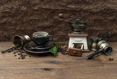 Cup of coffee and antique accessories. retro style Royalty Free Stock Photos