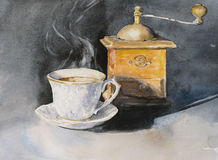 Cup of coffee. Cup of aromatic coffee with an old coffe grinder in the background.Picture created with watercolors Royalty Free Stock Photos