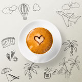 Cup of coffee around the sketches of your journey Royalty Free Stock Photo