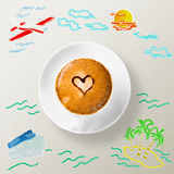 Cup of coffee around the sketches of your journey Royalty Free Stock Photography