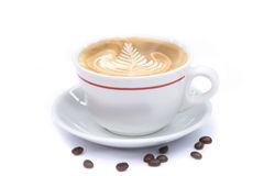 Cup of coffee art latte Royalty Free Stock Images