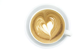Cup of coffee art latte or cappuccino Royalty Free Stock Photography
