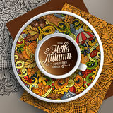 Cup of coffee and Autumn doodles Stock Photo