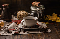 Cup of coffee at autumn evening Royalty Free Stock Image